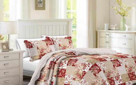 Přehoz na postel Patchwork růže Heda, 140 x 200 cm, 1ks 50 x 70 cm, 140 x 200 cm
