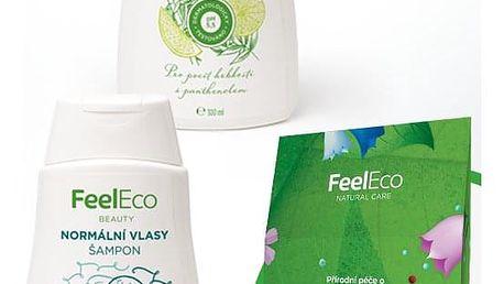 Dárkový balíček Kosmetika Feel Eco Sprchové gely: Levandule & Ylang-Ylang 300ml, Šampony: Mastné vlasy, Kosmetika: Krabička kosmetiky Feel Eco