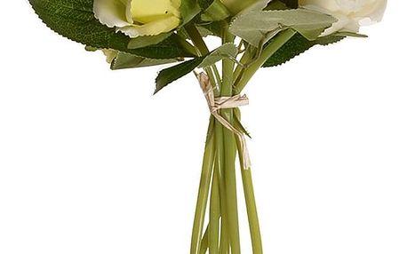 Umělá kytice poupat růže béžová, 22 cm