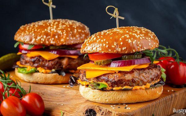 Hovězí hamburger nebo cheeseburger pro 1 i pro 2 os.