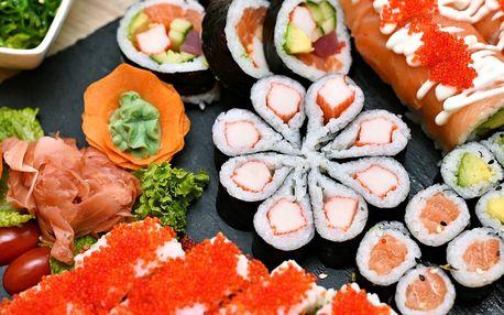 Set 24–46 kusů sushi i s wakame salátem a nápoji
