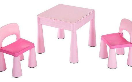 New Baby Dětská sada stolečku a židliček 3 ks, růžová