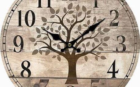 Dřevěné nástěnné hodiny Old tree, pr. 34 cm