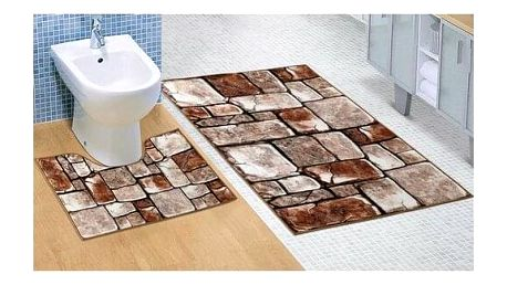 Bellatex Sada koupelnových předložek Kamenná dlažba 3D, 60 x 100 cm, 60 x 50 cm