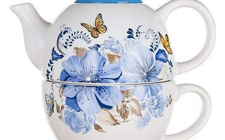 Banquet Konvička keramická se šálkem BLUE FLOWER