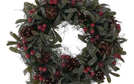 Vánoční dekorační věnec Helene pr. 24 cm, červené bobule