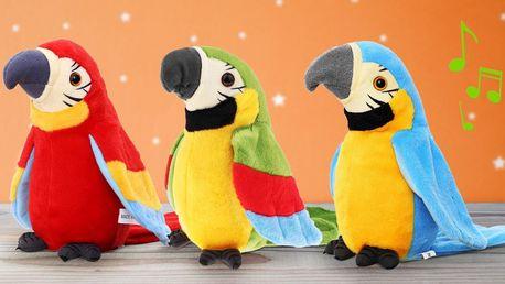 Plyšový papoušek opakující slova: 3 barvy