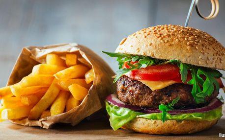 Pořádně nacpané burgery s hranolky pro 1 či 2 os.