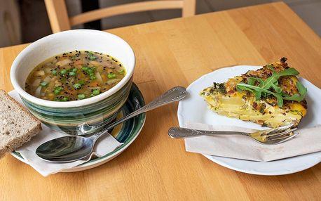 Bio polévka a quiche ve Fér Café pro 1 i 2 osoby