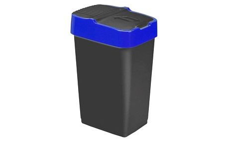 Heidrun Odpadkový koš 60 l, černý s modrým pruhem