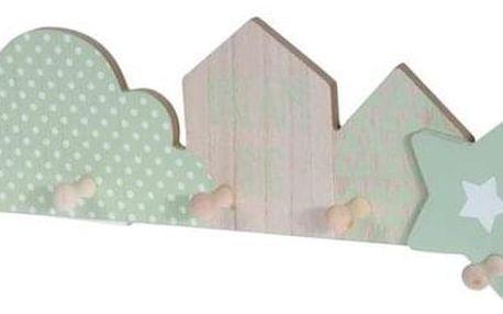 Věšák 5 háčků Dream big, zelená