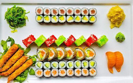 Set s 52 ks sushi: s lososem, krevetami i tuňákem