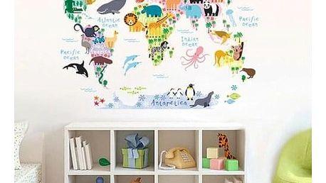Samolepicí dekorace Dětská mapa světa zvířátka, 90 x 70 cm