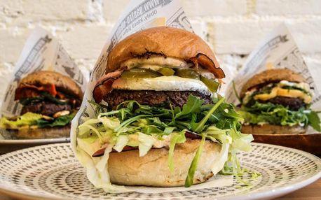 Burger podle výběru z 9 druhů a opečené brambory