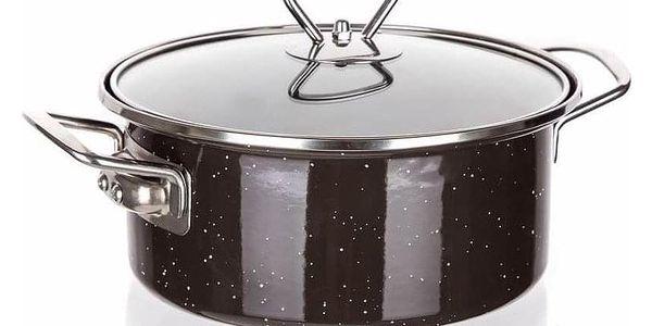 Banquet Kastrol smaltovaný s poklicí GRANITE Dark Brown, 2 l