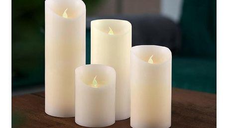 Sada voskových LED svíček, 7,5 x 20 cm, 4 ks