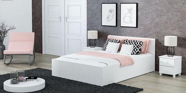 Dřevěná postel DM1 bílá, 90x200 + rošt ZDARMA2