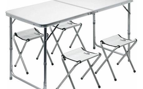 Cattara Stůl kemping DOUBLE teleskop. šedý + 4x židlička