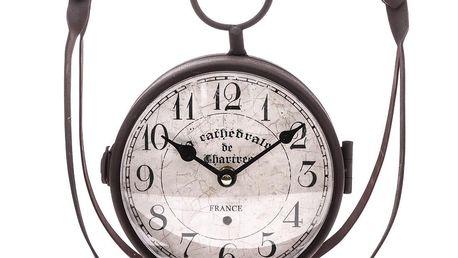 Oboustranné stolní kovové hodiny, 30 x 29 cm