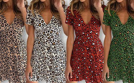 Dámské letní šaty s leopardím vzorem