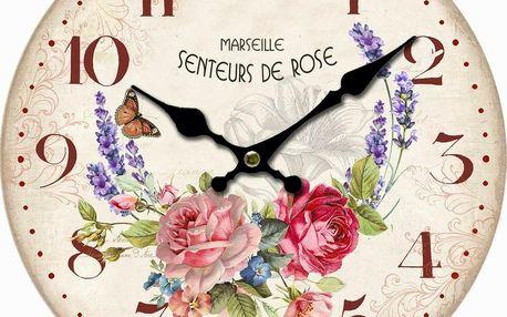 Dřevěné nástěnné hodiny Marseille flowers, pr. 34 cm