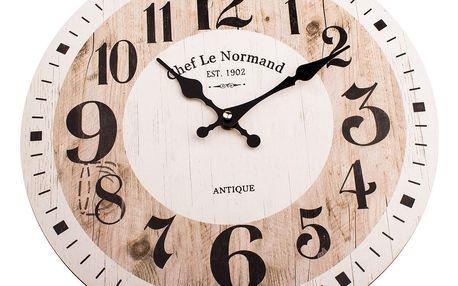 Dřevěné nástěnné hodiny Chef le Normand, pr. 34 cm