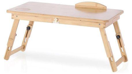 Bambusový stolek na notebook se zásuvkou Ryker, 25 x 30 x 50 cm