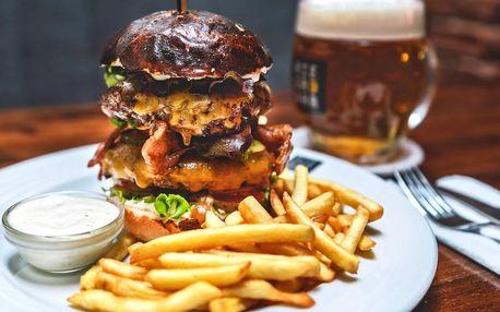 Angus burger v double verzi a piva, co hrdlo ráčí