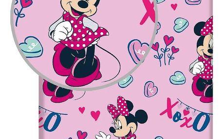 """Jerry Fabrics Dětské bavlněné prostěradlo Minnie """"XOXO"""", 90 x 200 cm"""
