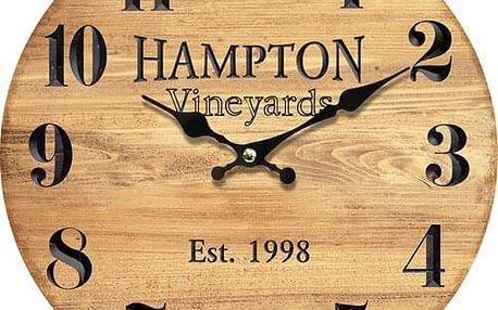 Dřevěné nástěnné hodiny Hampton, pr. 34 cm
