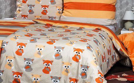 4Home Bavlněné povlečení Little Fox, 140 x 220 cm, 70 x 90 cm