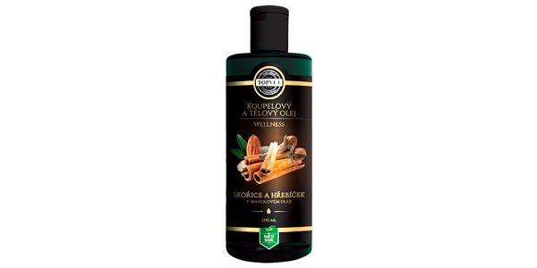 Koupelový a tělový olej skořice a hřebíček v mandlovém oleji 200 ml, Topvet