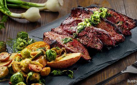 350g steak s omáčkami a pečenými bramborami pro dva