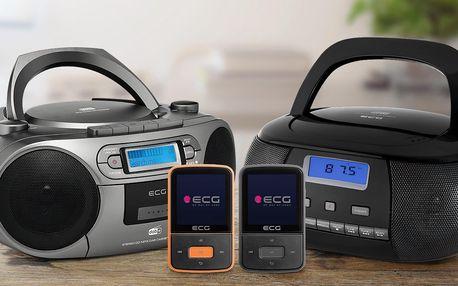 MP4 přehrávače a rádia značky ECG na CD i kazety