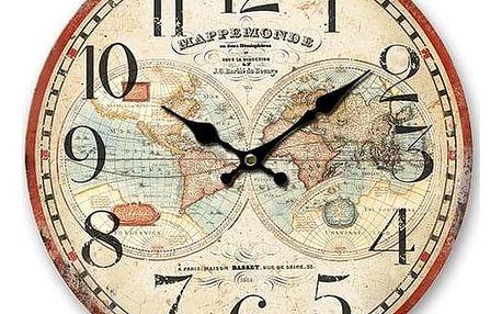 Dřevěné nástěnné hodiny Mappemonde, pr. 34 cm