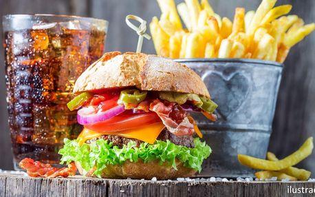 Burger výběrem z 5 druhů, hranolky a limonáda