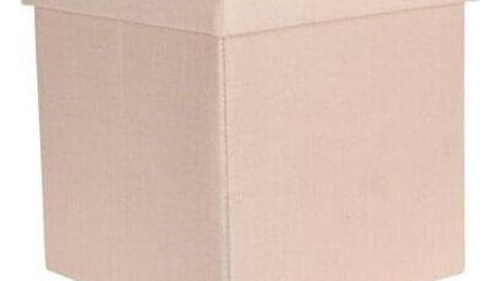 Taburet s úložným prostorem Tyra, béžová, 38 x 38 x 38 cm