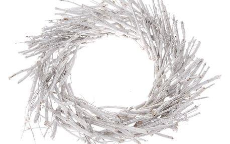 Dekorační věnec z proutí, pr. 40 cm, bílá