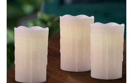Sada voskových LED svíček s dálkovým ovladačem, 8 x 12,5 cm, 3 ks