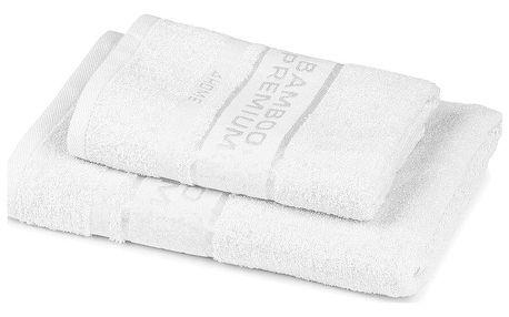 4Home Sada Bamboo Premium osuška a ručník bílá, 70 x 140 cm, 50 x 100 cm