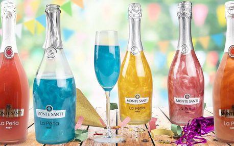 Třpytivé šumivé víno v růžové, modré i zlaté barvě