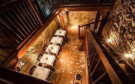 Degustace osmi vzorků vín v malém sklepě Hotelu Lahofer
