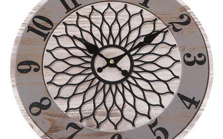 Nástěnné hodiny Mandala 34 cm, šedá