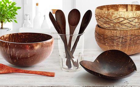 Kokosové misky, mýdlenky i dřevěné příbory