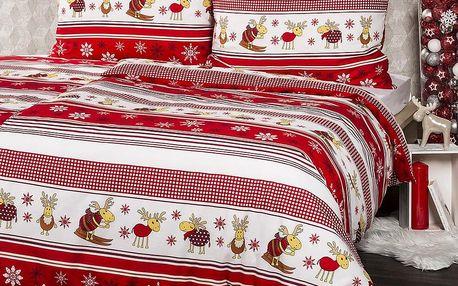 4Home Vánoční bavlněné povlečení Sobíci, 220 x 200 cm, 2 ks 70 x 90 cm