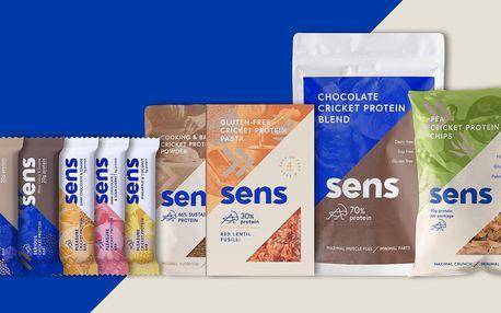 Balíčky Sens s cvrččím proteinem: chipsy i tyčinky