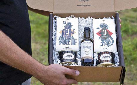 Dárkové balíčky s paštikami, čokoládou a vínem
