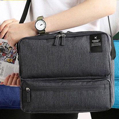 Cestovní taška přes rameno: šedá, modrá, tyrkysová