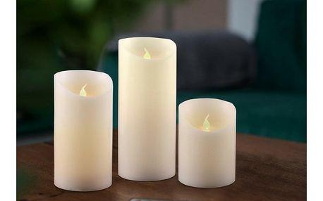 Sada Voskových LED svíček s dálkovým ovladačem, 7,5 x 15 cm, 3 ks