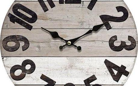 Dřevěné nástěnné hodiny Vintage wood, pr. 34 cm